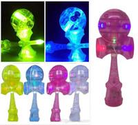 jouets de jade achat en gros de-DHL Flash light Compétences Kendama Ball jouets LED 18cm Jeux Intelligence jouets nouvelles compétences épée balle jade épée en plastique kendama balle jouet B