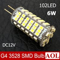 Wholesale G4 3528 - New G4 6W 3528 SMD 102 LED Bulb DC12V White  Warm White Home Spotlight Bulb Car RV Marine Boat LED Corn Light 360 degree