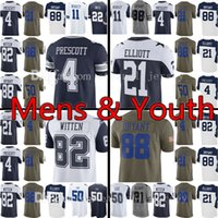 Wholesale Footballs Bryant - Men's Youth 4 Dak Prescott 21 Ezekiel Elliott Jersey Kid's 88 Dez Bryant 82 Jason Witte Jerseys Adult Embroidery and 100% Stitched