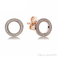 Wholesale Circular Studs - New 925 Sterling Silver Earring Rose Sparkling Circular Forever With Crystal Stud Earrings For Women Wedding Gift Fine Jewelry