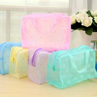 Wholesale Travel Wash Bag Wholesale - (5 pieces lot) Half Transprant Wash Tool bag Small Flower Pattern Bathroom Travel Storage Consolidation Korean Style