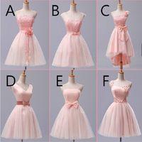 vestido de gasa f al por mayor-Vestidos de dama de honor cortos de gasa de encaje rosa con vestido de fiesta sin tirantes de lazo A-F 6 Estilo orden mezclada