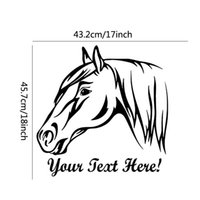 Wholesale Named Wall Stickers - Home Decor Wall Sticker Removable PVC Waterproof Head Of Horse Wall Stickers Home Decor Customized Name Decals Design