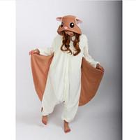 olanlar yetişkinler için pijamalar toptan satış-Uçan Sincap Onesies Pijama Unisex Yetişkin Pijama Cosplay Kostüm Hayvan Onesie Pijama Tulum