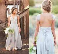 Wholesale Grey Chiffon Bridesmaid Dresses - 2017 Cap Sleeves Backless Long Chiffon Grey Bridesmaid Dresses Queen Anne Neck Spring Summer Garden Country Plus Size Maid of Honor Dresses