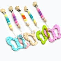 Butterfly Teether Silicone Pacifier Clips Chewable Toy Safe Silicone Baby Dentição Pingente Pacifier Cadeiras Cadeiras Chew Beads Baby Gift