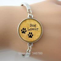 Wholesale Craft Link Party - DOG LOVER Hand Crafted bangles Pet Paws bangle, Gift for Dog Lover bangle bracelets antique silver plated glass dome cuff bangle