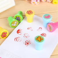 Wholesale Self Inking Stamps Kids - Wholesale- Colorful Cartoon Flower Self-ink Stamps Kids Favor Gift Birthday Party Toys Event Party Supplies