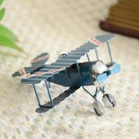 flugzeugmodelle geben verschiffen frei großhandel-Freies Verschiffen Weinlese-Metallflugzeug-Modell-Eisen-Retro- Flugzeug-Segelflugzeug-Doppeldeckerminiflieger-Modell-Spielzeug-Weihnachtsausgangsdekoration 36pcs / lot