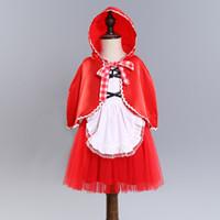 roter prinzessin hut großhandel-EINSATZ Heiße verkaufende Europa-und Amerika-Weihnachtsarten Neue Ankunfts-Mädchen Wenig rotes Hutprinzessin-Ballettröckchenkleidmädchen scherzt beiläufiges Kleid freies Schiff