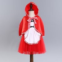 Wholesale Little Princess Dresses Free Shipping - INS Hot selling Europe and America Christmas styles New Arrival Girl Little red hat princess tutu dress girl kids casual dress free ship