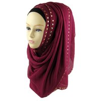 Wholesale Scarves Studs - Free Shipping New Arrival Solid Rivet Sequin Scarf Charm High Quality Gold Cotton Studs Beaded Shawl Muslim Hijab