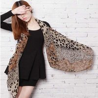 Wholesale leopard print scarves for women - Wholesale- 2014 Hot Sell Sexy Fashion Shinning Leopard Print Chiffon Shawl Scarf for Women and Girls High Quality