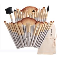 Wholesale Champagne Hair - Professional Soft Champagne 32pcs Makeup Brushes Set Beauty Cosmetic Real Make Up Tools Eyeshadow Blush Set with Brush Bag