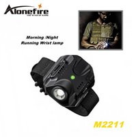 Wholesale Cree Night Light - ALONEFIRE M2211 CREE XPE R2 LED 5 model Built-in battery Morning Night Run Wrist lamp Tactical light flashlight
