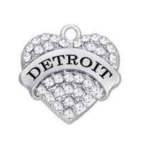 Wholesale city hearts - Free shipping New Fashion Easy to diy 3pcs a lot Detroit heart charms American city jewelry making fit for necklace or bracelet