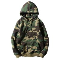 Wholesale Camo Fleece Mens - Army Green Camouflage Hoodies 2017 Winter Mens Camo Fleece Pullover Hooded Sweatshirts Hip Hop Swag Cotton Streetwear