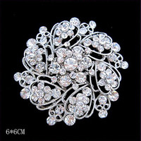 Wholesale Cheap Brooch Wedding Bouquets - Hot Selling Silver Tone Bright Clear Crystals Bouquet Pin Whoelsale Cheap Broaches Bridal Dress Jewelry Pins