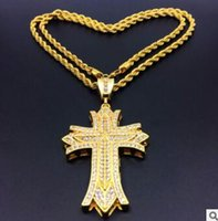 Wholesale multi layer cross necklace - 14K Gold Diamond exaggerated multi-layer cross pendants European and American men's hip-hop necklace