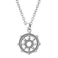 Wholesale Silver Necklace Designs Price - Factory Price Wiccan Or Solomon Compass Design Pendant Anchor Link Chain Sports Magic Necklace Drop Shipping
