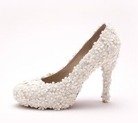 Wholesale White Satin Ballroom Shoes - Luxury White Flower Ballroom Dance Shoes High Heels New Sandals For Women High Heels Elegant Wedding Bridal Shoes