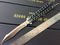 "Wholesale Carbon Steel Folding Knives - Theone 5.5"" Balisong Butterfly knife Stainess steel Handle Channel construction Carbon fiber paint"