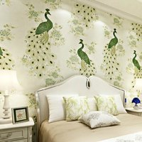 Wholesale Peacock Wall Paper - Wholesale- Peacock Birds Floral 3D Non-woven Wallpaper Embossed Embroidery Wall Paper Living Room Bedroom TV backdrop Wallpaper Mural