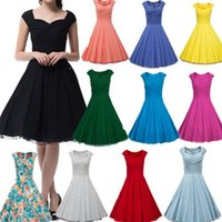 Wholesale Champagne Casual Wedding Dresses - Wholesale plus size 10Colors Audrey Hepburn Vestidos Women Summer Retro Party Wedding Club Rockabilly 50s Vintage Dresses CL007600