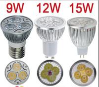 lâmpada led cree gu5.3 venda por atacado-Varejo de Alta potência CREE 9 W 12 W 15 W Dimmable GU10 MR16 E27 E14 GU5.3 Conduziu a Luz Da Lâmpada Holofotes lâmpada led Frete grátis