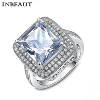 INBEAUT Certified 925 Sterling Silver Big Cushion Cortar Pedra Anel Mulheres Vintage 18KPG White Gold Rilled WhiteRed Crystal Rings