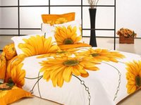 Wholesale Sunflower Queen Comforter - Reactive printing sunflower cotton bedding bedspreads on queen king beds with reversible duvet quilt cover flat sheet 4 5pc comforter sets