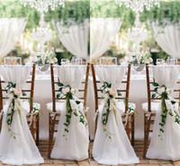 стулья для свадебных торжеств оптовых-2018 белый стул створки для свадьбы 30D шифон 200*65 см свадебный стул охватывает Chiavari стул створки DIY стиль