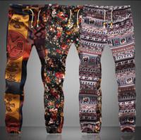 Wholesale linen drawstring pants - Wholesale-new summer style men pants special offer harem pants floral print cotton linen strip elastic waist mens joggers sweatpants