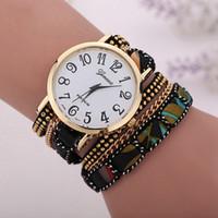 Discount women watches sale geneva - Ttop 201250pcs Big Sale New Fashion Geneva Handmade Quartz Chain Link Fabric Watch Women Weave Bracelet Watches