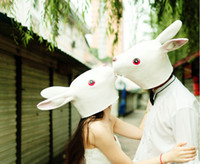 Wholesale Disguise Halloween - Wholesale-Halloween Party Cosplay Latex Rabbit Mask Animal Bunny Mask Disguises of Rabbits Face Head Mask for Adult