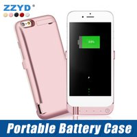 Wholesale External Cell Battery Charger - ZZYD 10000 mAh External Power Bank Charger Case Mobile Phone Backup Battery Case For iP 6 7 8 plus Cell Phone