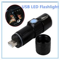 Wholesale Wholesale Portable Ac - 3 Mode Tactical Flash Light Torch Mini Zoom Rechargeable Powerful USB LED Flashlight AC Lanterna For Outdoor Travel