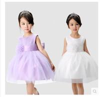 Wholesale Royal Korean Princess - 2015 High-grade Korean girls princess dress wedding dress purple children dress bitter fleabane bitter fleabane skirt white flower girls dre