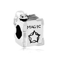Wholesale Magic Mouse Black - Rhodium Silver Color Plating Minie Mouse On Magic Box Bead European Animal Charm Fit Pandora Bracelet