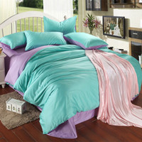 Wholesale bedsheets bags for sale - Group buy Luxury purple turquoise bedding set king size blue green duvet cover sheet queen double bed in a bag quilt doona linen bedsheets bedlinens