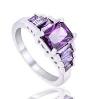 ingrosso anello gemma di zirconio-Fedi nuziali Anelli nuziali in cristallo austriaco placcato in argento sterling 925 Anelli in oro bianco con zirconi cubici e diamanti con zaffiro