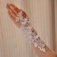 Wholesale Dress Wedding Below - Handmade paillette pearl wedding dress bridal lace gloves wristiest Gloves long pair of gloves bride bride Free Shipping