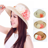 Wholesale Blue Millinery Flowers - Wholesale-Brim Straw Hat For Women Bohemia Flower Wide Brim Hat Uv Visor Millinery Outdoor Hat Fedoras 2015 Summer Style Chapeu Sombrero