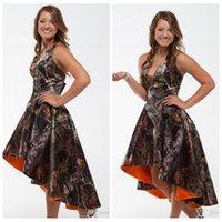Wholesale Hi Low Wedding Dress Designer - New Designers Halter Camo Wedding Dresses High Low Camouflage Hi-Lo Formal Natural Slim Bridal Gowns Adjustable Lace Up 2016 Plus Size