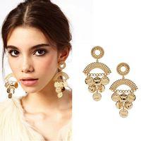 Wholesale Modern Chandeliers Gold Metal - Fashion Woman Brand Modern Gold Metal Coin Cutout Drop Earrings for Woman 2014 New Brinco Grandes Bijou CE093 coupon