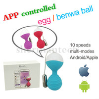 Wholesale Ben Wa Ball Silicone - Mobile APP remote control dual eggs vibrator, wireless control silicone ben wa ball smart ball sex product