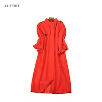 ingrosso trincea rossa rosa-Trench coat da donna autunno inverno trench coat da trench nero rosso rosa manica tre quarti Plus Size Trench coat casual lungo