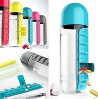 Wholesale Water Capsule - 2017 NEW Pill Box Bottle Cycling Camping Sports Water Bottle Daily Capsule Organizer Cups Drinking Bottles 5 Colors GLO