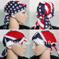 Wholesale Cotton Hair Bandana Beanie Tie Down Hat Head Wrap USA UK FLAG