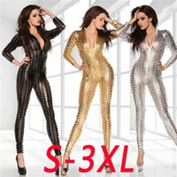 Wholesale women leather overalls - Wholesale- Punk LINGERIE silver  gold  black Wetlook Catsuit jumpsuit 3D Intricately crafted Overall Punk S-3XL 7117